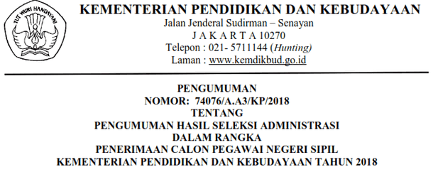Pengumuman Hasil Seleksi Administrasi Penerimaan CPNS Kemdikbud Tahun 2018