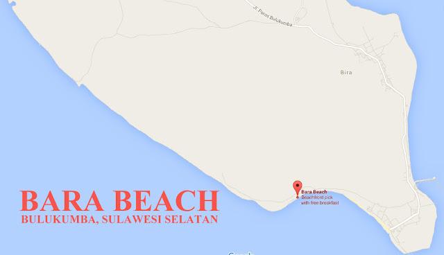 Lokasi pantai Bara tempat wisata bulukumba