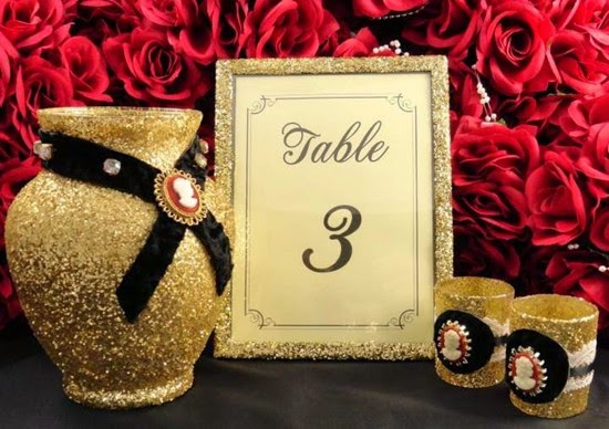 gold and black bling glitter wedding reception centerpieces
