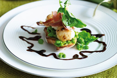 Scallop and pancetta stack with smashed peas Recipe