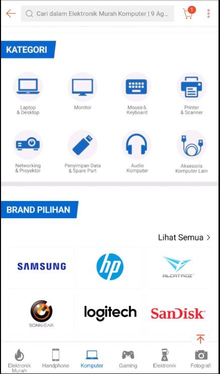 Kategori Perlengkapan Komputer di Marketplace Shopee.