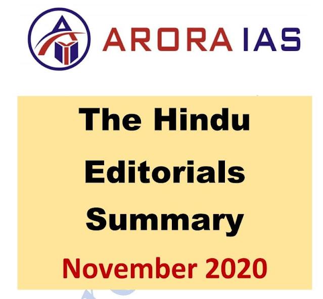 Arora IAS The Hindu Editorial Summary (November 2020) : For UPSC Exam PDF Book