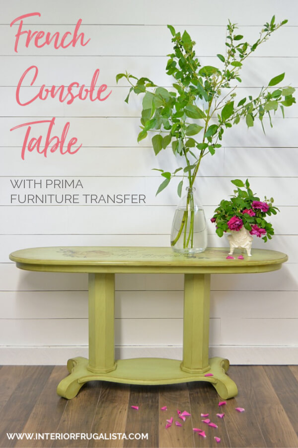 A long oval golden oak empire style console table makeover with French Country Charm with a gorgeous Chatellerault furniture transfer and green paint. #paintedfurniture #furnituremakeover