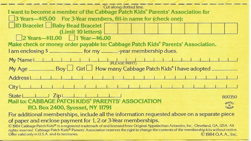 toy addict com cabbage patch kids parents association 1984 adoption certificate printable cabbage patch certificate printable