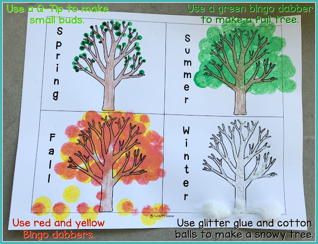 Fun and easy art project for kids to learn about the four seasons