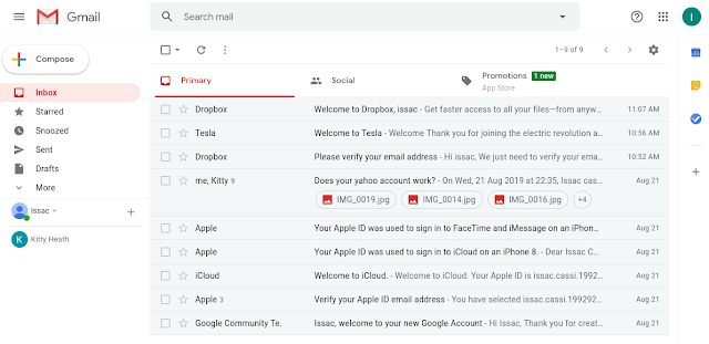 This image contains a screenshot of the logged-in gmail account, accessed using the value from the keychain. It shows the inbox of the gmail account, containing nine email messages.