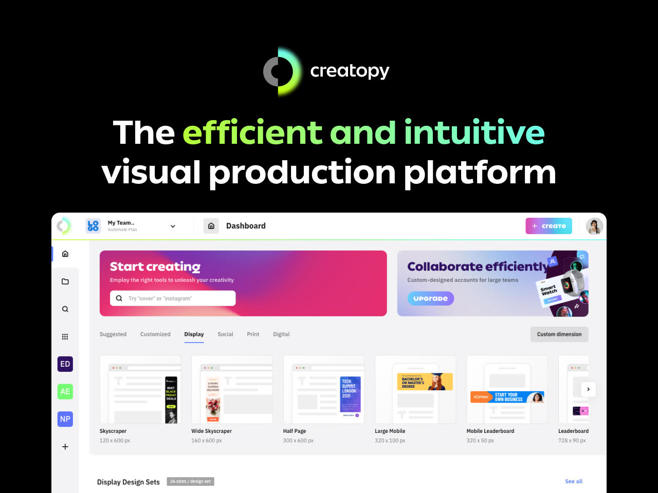 Creatopy is an efficient and intuitive visual production platform