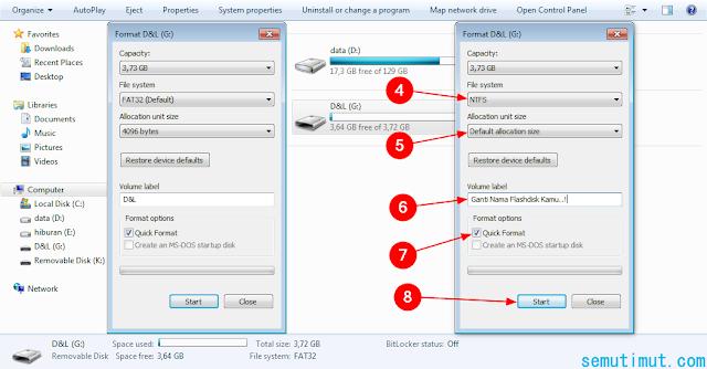 cara format flashdisk di komputer