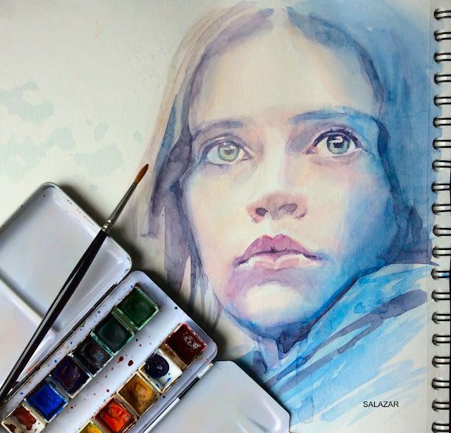 Star Wars. Jyn. Retrato a la acuarela. Clases de pintura y dibujo en Las Palmas.