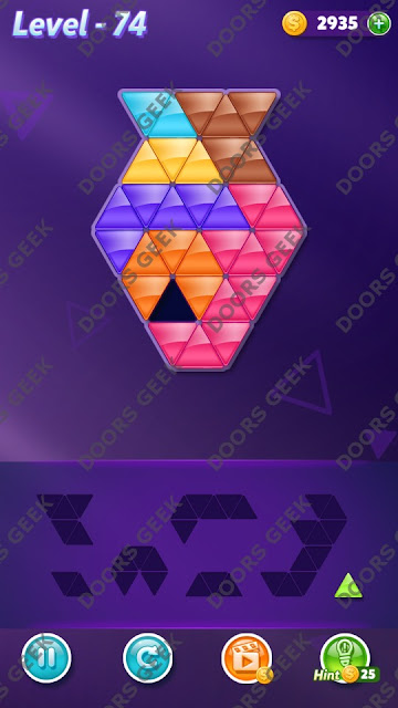 Block! Triangle Puzzle 7 Mania Level 74 Solution, Cheats, Walkthrough for Android, iPhone, iPad and iPod