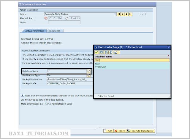 Scheduling HANA DB MDC backup from SAP DBACOCKPIT/DB13