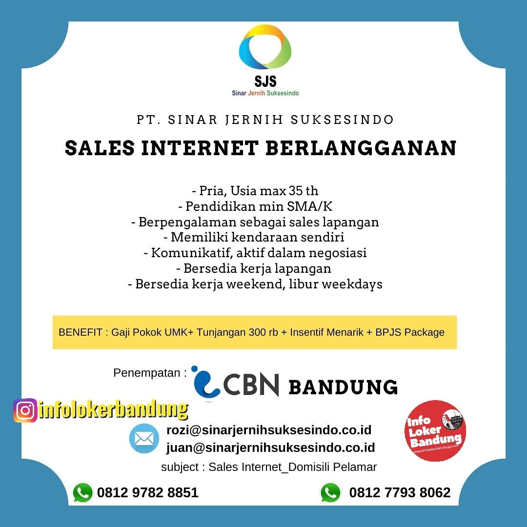 Lowongan kerja Sales Internet Berlangganan PT. Sinar Jernih Suksesindo Bandung Januari 2020