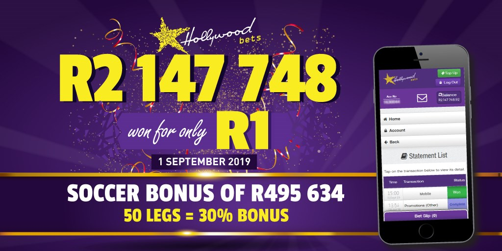 R2,147,748 won from a R1 bet! - Hollywoodbets mobile betting on Soccer on 1st September 2019