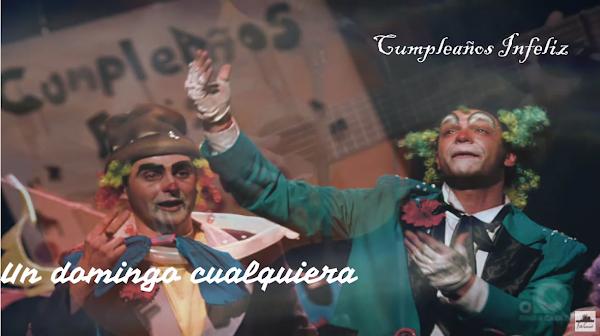"""Pasodoble con LETRA """"Un domingo cualquiera"""". Chirigota """"Cumpleaños Infeliz"""" por Puchi, Moncho, Chaves y Sergio"""