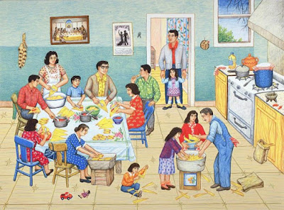 A drawing of a large family gathered in a blue and yellow kitchen. Everyone is doing there part in making tamales.