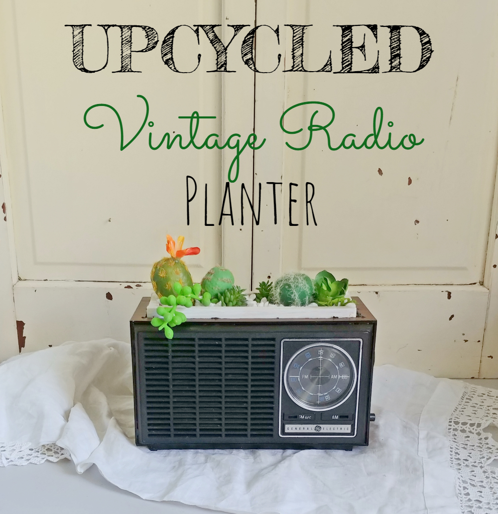 make an adorable planter with an old radio!