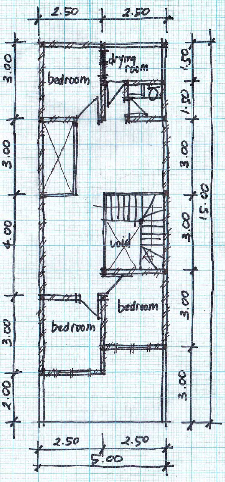 Small Two Story House Design: TWO STORY HOUSE PLANS 5MX15M
