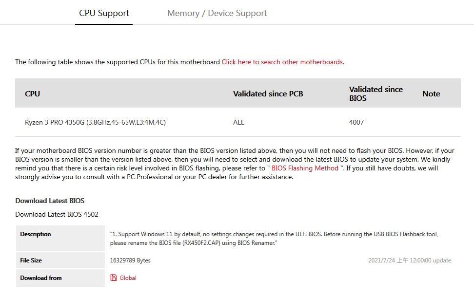 AMD Ryzen 3 PRO 4350G BIOS 4502 Windows 11 ASUS ROG Strix B450-F GAMING II