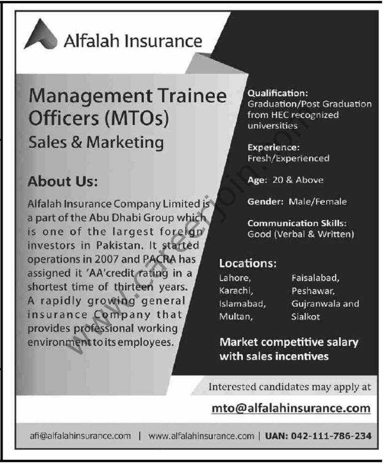 mto@alfalahinsurance.com  - Alfalah Insurance Jobs 2021 in Pakistan