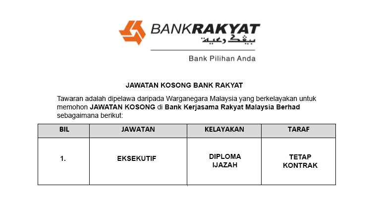 Bank Kerjasama Rakyat Malaysia Berhad [ Permohonan Jawatan Dibuka ]