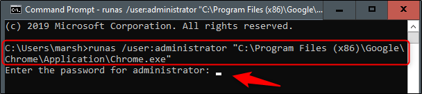 افتح Chrome كمسؤول