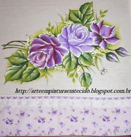 pintura em tecido rosas em lilás