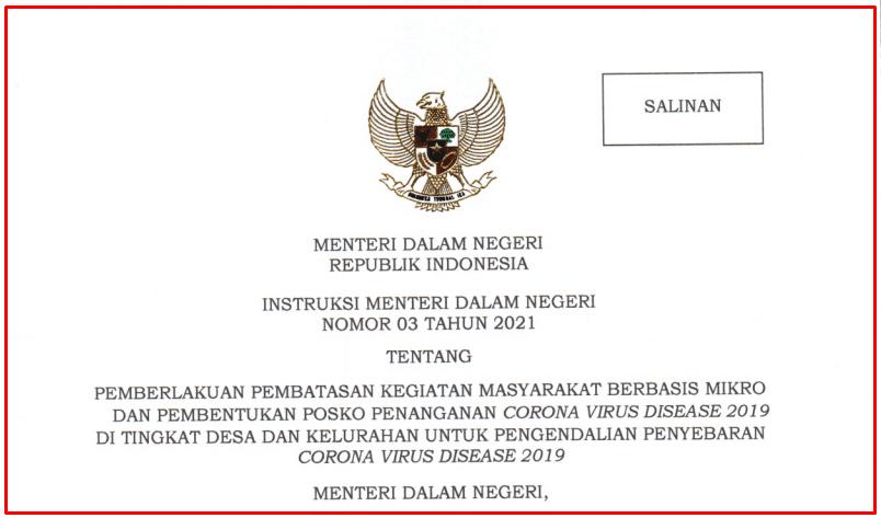 Tito Karnavian menerbitkan instruksi Mendagri  Download Instruksi Mendagri Nomor 3 Tahun 2021 tentang Penerapan PPKM mikro
