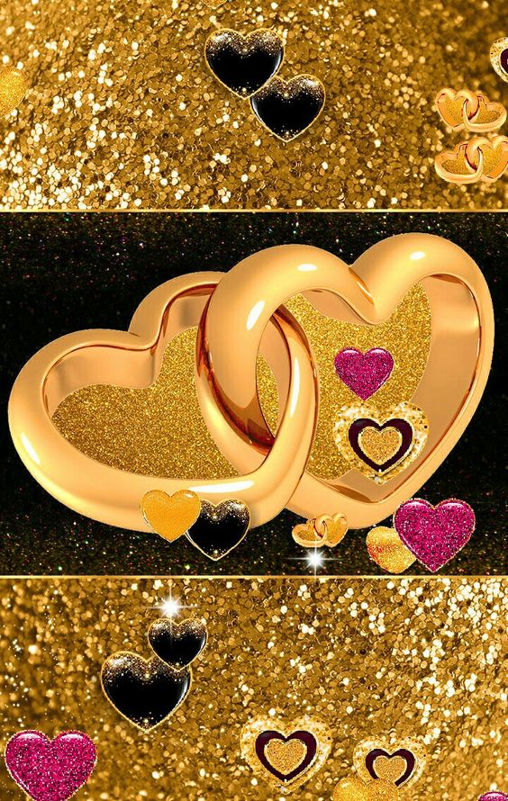 Trending full HD Love Wallpapers and romantic backgrounds for Android & Iphone Smartphones In Full Size, Golden Glitter Hearts of Love