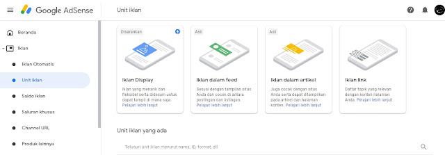 Menampilkan unit Iklan Link, Cara menampilkan unit Iklan Link akun baru google adsense