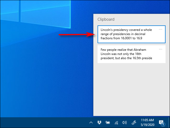 انقر فوق العنصر الذي تريد لصقه في قائمة محفوظات الحافظة على Windows 10.