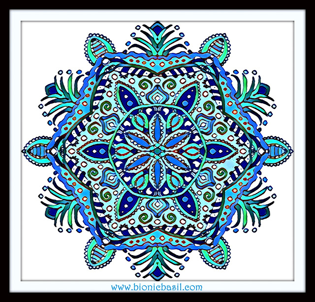 Mandalas on Monday ©BionicBasil® Colouring With Cats Mandala #93 coloured by Cathrine Garnell