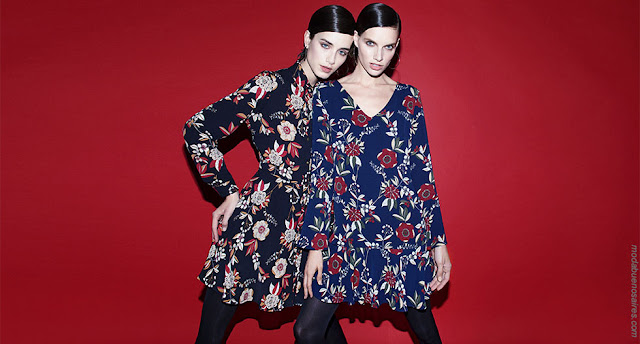 Vestidos estampados fondos oscuros otoño invierno 2018 ropa de mujer.