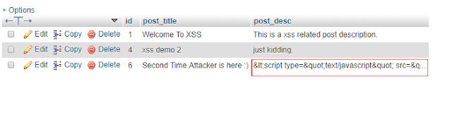 Post table data after xss protection