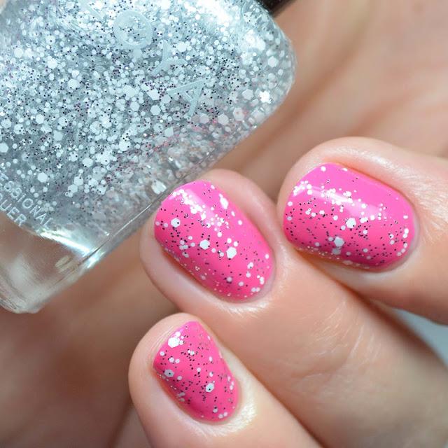 white and silver glitter nail polish topper