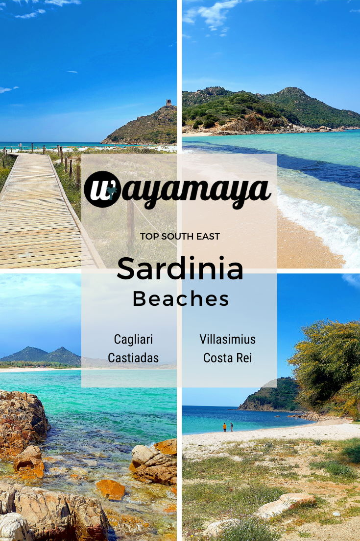 Wayamaya beach guide & travel tips to the most beautiful south east Sardinia beaches near Cagliari, Villasimius, Costa Rei, Castiadas for amazing Sardinia holiday. Cagliari beaches: Poetto, Calamosca, Cala Fighera. Villasimius beaches: Solanas, Campus, Porto Giunco. Castiadas beaches: Cala Sinzias. Costa Rei beach blog