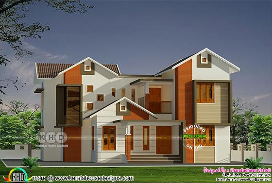 2350 sq-ft mixed roof modern house plan