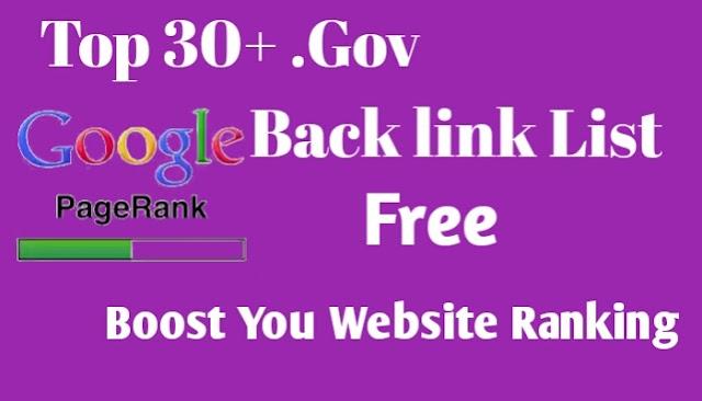 Top 30+ High P.R .Gov Back link Sites List