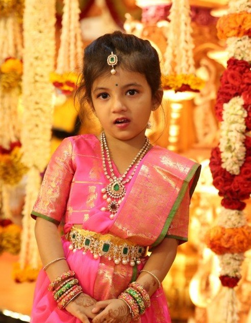 Cute Kid in Polki Necklace Vaddanam