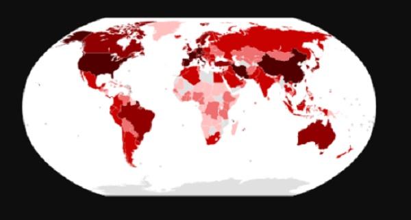 خريطة انتشار فيروس كورونا في العالم