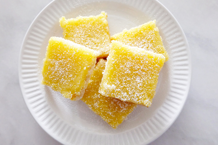 plated lemon bars viewed from above