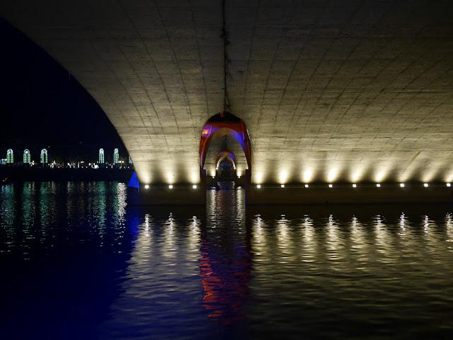 Nighttime view under the Jiefang Bridge in Guilin, China