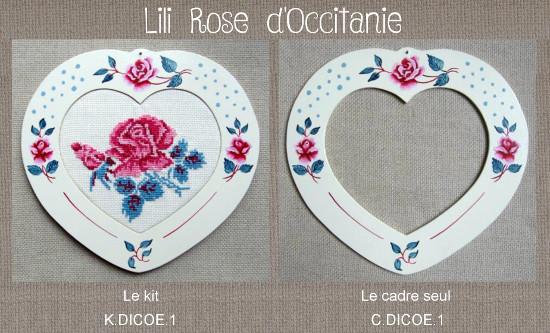 """Cadre bois peint """"Coeur Digoin"""" + grille assortie, broderie 12,7 x 11,5 cm. Broderie et point de croix"""