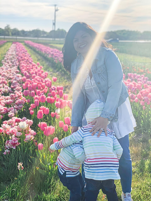 mommy and me, mama's boys, mother son, mother's love, spring 2020, mothering during crisis, mommy and me photos, tulips, stay home, coronavirus, latina mom, new york mom, long island mom