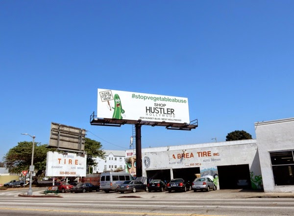 Stop vegetable abuse Shop Hustler billboard