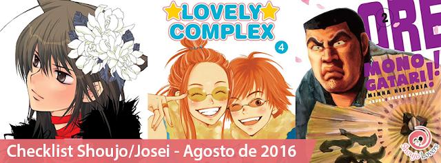 Checklist mangás Shoujo/Josei - Agosto de 2016