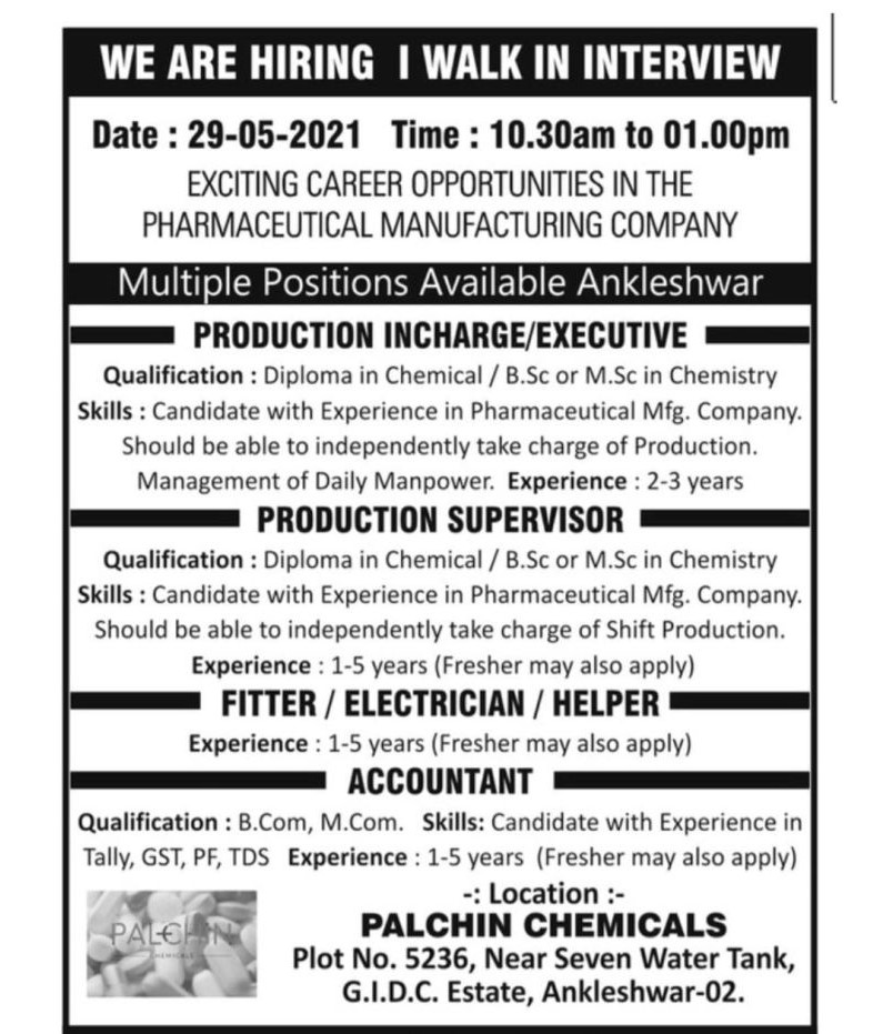 Palchin Chemicals Pharmaceutical Manufacturing Company Recruitment ITI, Diploma And BSC, MSC, B.Com, M.Com Candidates