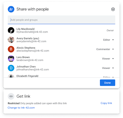 New sharing dialog for Google Drive, Docs, Sheets, Slides, and Forms 2