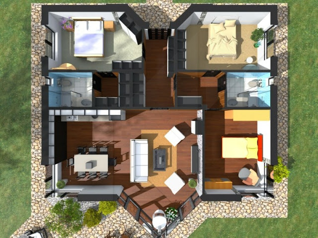 3d apartment design with 3 bedrooms