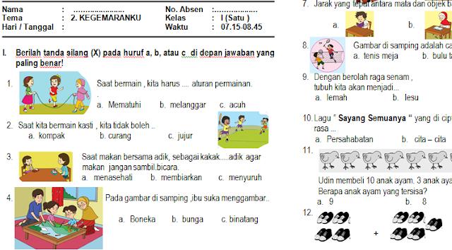 Download Soal PAS/UAS Kelas 1 Semester 1 Kurikulum 2013 (Tema 2: Kegemaranku)
