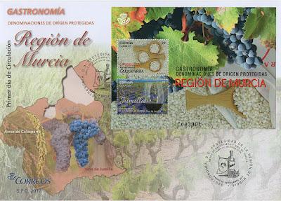 sobre, filatelia, hoja bloque, sello, Denominación de Origen, vino, Jumilla, arroz, Calasparra